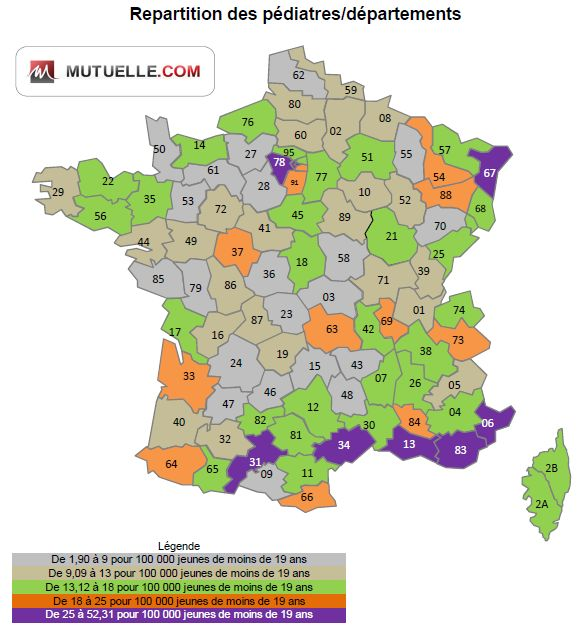 repartition des pediatres par departement
